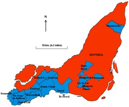 Montréal (in rosso) nella regione di Montréal