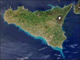 Immagine satellitare della Sicilia