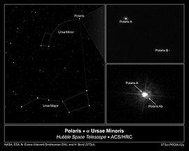 Immagine scattata dal telescopio spaziale Hubble che illustra il sistema multiplo di Polaris (α UMi).