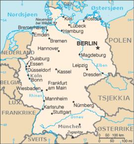 Kart over Forbundsrepublikken Tyskland