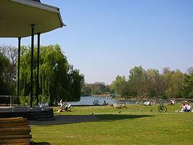 Regent's Park bandstand and lake
