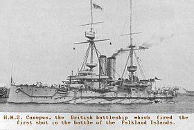 HMS Canopus während des Weltkrieges