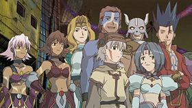I principali personaggi: da sinistra a destra: Blackrose[1], Mimiru, BT, Tsukasa e, dietro di lui, Bear, Subaru e, dietro di lei, Ginkan, Crim.