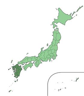 九州在日本的地理位置圖