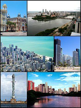 A partir da esquerda: Marco Zero; Recife e suas pontes; Vista aérea da Praia de Boa Viagem; Praia de Boa Viagem; Torre de Cristal; e o Rio Capibaribe.