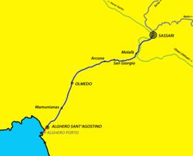 Percorso della Sassari - Alghero