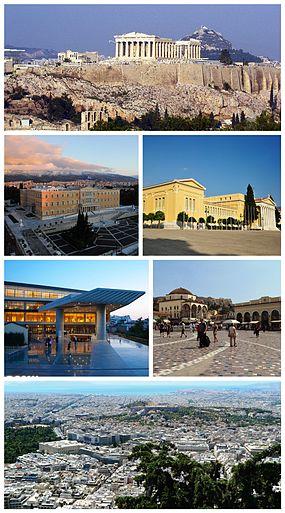 Da esquerda para a direita e de cima para baixo:  Acrópole de Atenas desde a colina de Philopappos, com o Monte Licabeto (Lykavittos) por detrás; Parlamento Helénico na Praça Sintagma; o Zappeion; Museu da Acrópole; Praça Monastiraki; vista desde o Monte Licabeto em direção ao sul.