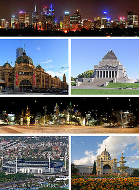 Topo: Centro de Melbourne, centro/esquerda: Flinders Street Station, centro/direita: Santuário da Lembrança, centro: Federation Square, baixo/esquerda: Melbourne Cricket Ground, baixo/direita: Edifício da Exposição Real.