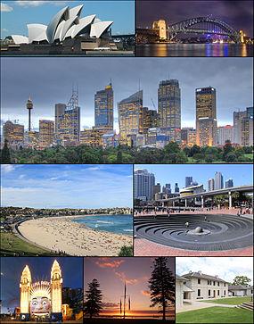 Do topo, em sentido horário: Ópera de Sydney e centro financeiro da cidade em Port Jackson; Praia Bondi; Ponte da Baía de Sydney; Porto Darling; Ópera de Sydney; e Universidade de Sydney.