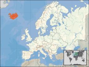 Kart over Ísland