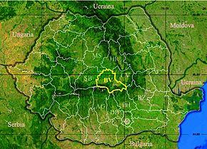 Harta României cu județul Brașov indicat