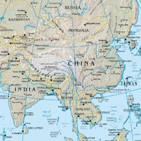 Kart over Folkerepublikken Kina