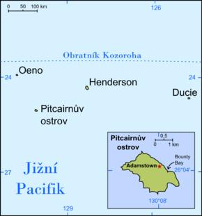 Poloha Pitcairnových ostrovů