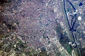 Satelitní snímek Vídně