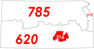 Map of Kansas with area code 316 in Red