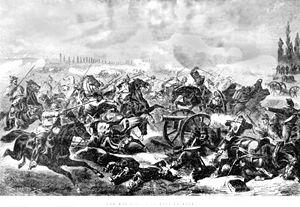 Das preußische 7. Kürassier-Regiment greift die französischen Stellungen in der Schlacht von Mars-la-Tour am 16. August 1870 an. Zeitgenössische Darstellung aus Canadian Illustrated News, 19 November 1870, vol.II, no. 21, 336.