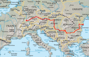 Hartă a cursului principal al Dunării