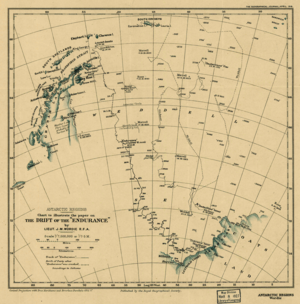"""Old chart showing incomplete Antarctia coastline. The chart indicates the line of """"Endurances"""" 1915 drift, also the earlier drift of Filchners """"Deutschland"""" and the line of James Weddells 1823 voyage"""