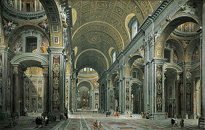 A very detailed engraved image of a vast interior. The high roof is arched. The walls and piers which support the roof are richly decorated with moulded cherubim and other sculpture interspersed with floral motifs. Many people are walking in the church. They look tiny compared to the building.