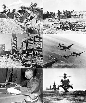 第二次世界大戰各地的戰爭場景。