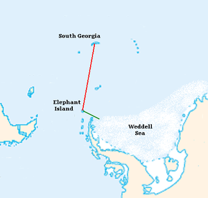 """The """"James Caird"""" journey is shown with relative locations of Antarctic continent, Elephant Island, South America and South Georgia"""