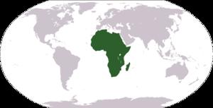非洲在世界地圖上的位置。