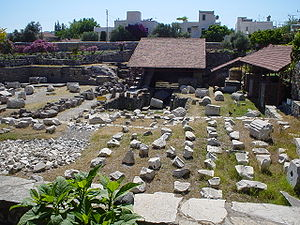 The ruins of the Mausoleum of Maussollos, one of the Seven Wonders of the Ancient World