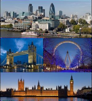 Topo: Panorama da Cidade de Londres, Meio à esquerda: Tower Bridge, Meio à direita: London Eye, Abaixo: Palácio de Westminster