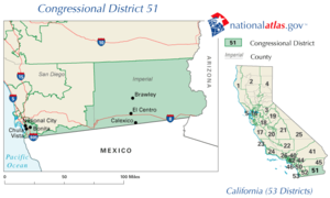 United States House of Representatives, California District 51 map.png
