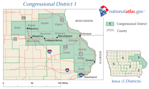 The 1st congressional district of Iowa