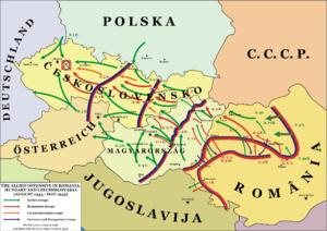 在特蘭西瓦尼亚西北、匈牙利及捷克的戰役示意圖(1944年–1945年)