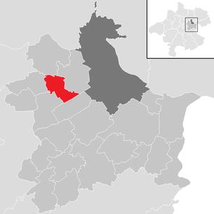 Lage der Gemeinde Pasching im Bezirk Linz-Land (anklickbare Karte)