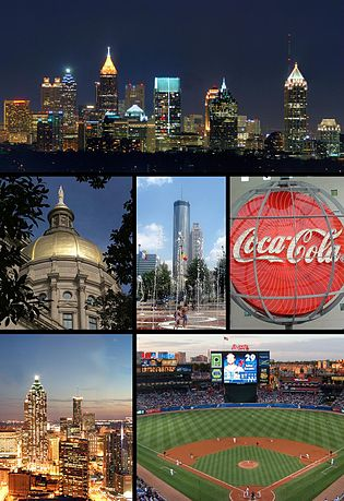 From top left: City skyline from Buckhead, the Georgia State Capitol, Centennial Olympic Park, World of Coca Cola, Downtown Atlanta skyline, and Turner Field的天際線