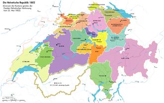 Helvetische Republik mit den Kantonen
