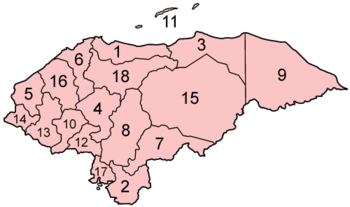 Honduras departments numbered.png