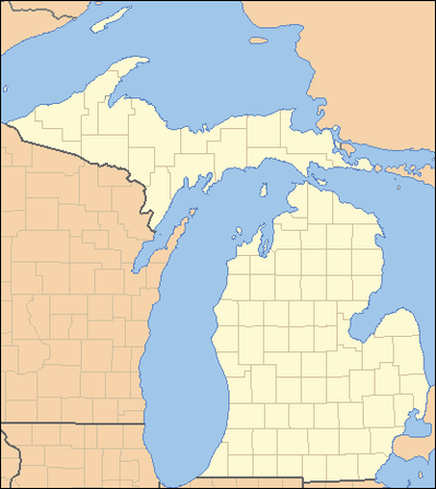 A map of Michigan showing its divisions into 83 counties. Each county is labeled with two letters. There is a smaller map of the United States in the bottom left corner with Michigan highlighted.