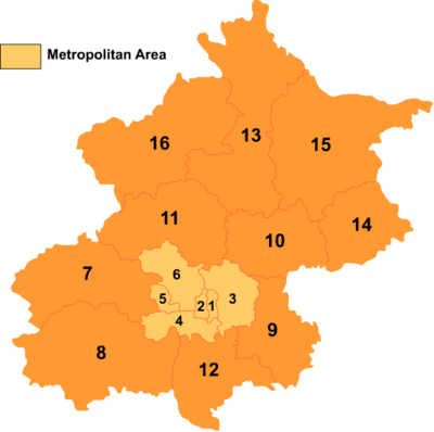 Nummerert kart over Beijings distrikter og fylker