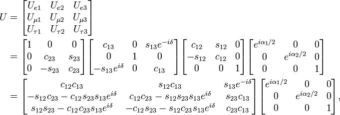 \begin{align} U &= \begin{bmatrix} U_{e 1} & U_{e 2} & U_{e 3} \\ U_{\mu 1} & U_{\mu 2} & U_{\mu 3} \\ U_{\tau 1} & U_{\tau 2} & U_{\tau 3} \end{bmatrix} \\ &= \begin{bmatrix} 1 & 0 & 0 \\ 0 & c_{23} & s_{23} \\ 0 & -s_{23} & c_{23} \end{bmatrix} \begin{bmatrix} c_{13} & 0 & s_{13} e^{-i\delta} \\ 0 & 1 & 0 \\ -s_{13} e^{i\delta} & 0 & c_{13} \end{bmatrix} \begin{bmatrix} c_{12} & s_{12} & 0 \\ -s_{12} & c_{12} & 0 \\ 0 & 0 & 1 \end{bmatrix} \begin{bmatrix} e^{i\alpha_1 / 2} & 0 & 0 \\ 0 & e^{i\alpha_2 / 2} & 0 \\ 0 & 0 & 1 \end{bmatrix} \\ &= \begin{bmatrix} c_{12} c_{13} & s_{12} c_{13} & s_{13} e^{-i\delta} \\ - s_{12} c_{23} - c_{12} s_{23} s_{13} e^{i \delta} & c_{12} c_{23} - s_{12} s_{23} s_{13} e^{i \delta} & s_{23} c_{13}\\ s_{12} s_{23} - c_{12} c_{23} s_{13} e^{i \delta} & - c_{12} s_{23} - s_{12} c_{23} s_{13} e^{i \delta} & c_{23} c_{13} \end{bmatrix} \begin{bmatrix} e^{i\alpha_1 / 2} & 0 & 0 \\ 0 & e^{i\alpha_2 / 2} & 0 \\ 0 & 0 & 1 \end{bmatrix}, \end{align}
