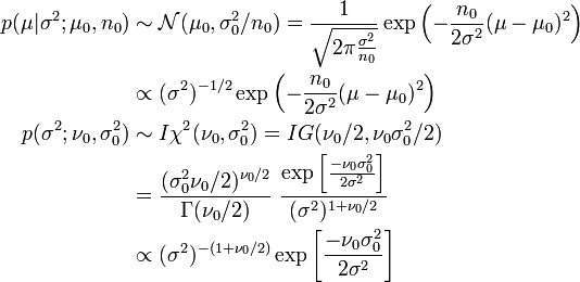 \begin{align} p(\mu|\sigma^2; \mu_0, n_0) &\sim \mathcal{N}(\mu_0,\sigma_0^2/n_0) = \frac{1}{\sqrt{2\pi\frac{\sigma^2}{n_0}}} \exp\left(-\frac{n_0}{2\sigma^2}(\mu-\mu_0)^2\right) \\ &\propto (\sigma^2)^{-1/2} \exp\left(-\frac{n_0}{2\sigma^2}(\mu-\mu_0)^2\right) \\ p(\sigma^2; \nu_0,\sigma_0^2) &\sim I\chi^2(\nu_0,\sigma_0^2) = IG(\nu_0/2, \nu_0\sigma_0^2/2) \\ &= \frac{(\sigma_0^2\nu_0/2)^{\nu_0/2}}{\Gamma(\nu_0/2)}~ \frac{\exp\left[ \frac{-\nu_0 \sigma_0^2}{2 \sigma^2}\right]}{(\sigma^2)^{1+\nu_0/2}} \\ &\propto {(\sigma^2)^{-(1+\nu_0/2)}} \exp\left[ \frac{-\nu_0 \sigma_0^2}{2 \sigma^2}\right] \\ \end{align}