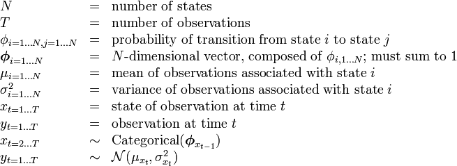\begin{array}{lcl} N &=& \text{number of states} \\ T &=& \text{number of observations} \\ \phi_{i=1 \dots N, j=1 \dots N} &=& \text{probability of transition from state } i \text{ to state } j \\ \boldsymbol\phi_{i=1 \dots N} &=& N\text{-dimensional vector, composed of } \phi_{i,1 \dots N} \text{; must sum to 1} \\ \mu_{i=1 \dots N} &=& \text{mean of observations associated with state } i \\ \sigma^2_{i=1 \dots N} &=& \text{variance of observations associated with state } i \\ x_{t=1 \dots T} &=& \text{state of observation at time } t \\ y_{t=1 \dots T} &=& \text{observation at time } t \\ x_{t=2 \dots T} &\sim& \operatorname{Categorical}(\boldsymbol\phi_{x_{t-1}}) \\ y_{t=1 \dots T} &\sim& \mathcal{N}(\mu_{x_t}, \sigma_{x_t}^2) \end{array}
