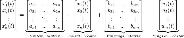 \begin{bmatrix}       x'_1(t)\\       x'_2(t)\\       \vdots\\       x'_n(t)\\      \end{bmatrix}  =\underbrace{\begin{bmatrix}       a_{11}& ...  & a_{1n}\\      a_{21}& ...  & a_{2n}\\      \vdots& \ddots  &\vdots\\      a_{n1}& ... & a_{nn}\\     \end{bmatrix}}_{System-Matrix} \ \cdot \underbrace{\begin{bmatrix}       x_1(t)\\      x_2(t)\\      \vdots\\      x_n(t)\\      \end{bmatrix}}_{Zustd.-Vektor} +  \ \underbrace{\begin{bmatrix}      b_{11}& ...  & b_{1m}\\      b_{21}& ...  & b_{2m}\\      \vdots& \ddots  &\vdots\\      b_{n1}& ...  & b_{nm}\\     \end{bmatrix}}_{Eingangs-Matrix} \quad \cdot  \underbrace{\begin{bmatrix}      u_{1}(t)\\      u_{2}(t)\\      \vdots\\      u_{m}(t)\\     \end{bmatrix}}_{Eing.Gr.-Vektor}