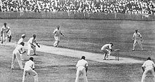 Black and white photo of a cricket pitch