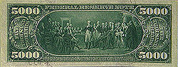 Series 1918 $5,000 Federal Reserve Note, Reverse, featuring the resignation of General George Washington