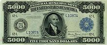 Series 1918 $5,000 Federal Reserve Note, Obverse