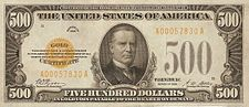 A small-size $5090 gold certificate, Series 1928. The reverse is the same as the Federal Reserve Note