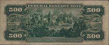 Series 1918 $500 bill, Reverse, depicting Hernando de Soto discovering the Mississippi River