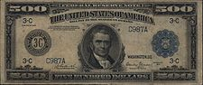Series 1918 $500 bill, Obverse, with Chief Justice John Marshall
