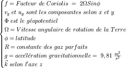 \begin{cases} f = Facteur\ de\ Coriolis\  =\ 2 \Omega  Sin \phi \\ v_g\ et\ u_g\ sont\  les\ composantes\ selon\ x\ et\ y \\ \Phi \ est\ le\ g\acute{e}opotentiel \\ \Omega = Vitesse\ angulaire\ de\ rotation\ de\ la\ Terre \\ \phi = latitude \\ R = constante\ des\ gaz\ parfaits  \\ g = acc\acute{e}l\acute{e}ration\ gravitationnelle =\ 9,81\ \frac {m^2}{s^2} \\ \vec k\ selon\ l'axe\ z \end{cases}