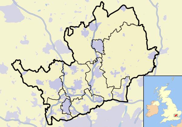 赫特福德郡在赫特福德郡的位置