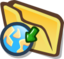 Cartoon drawing of a planet-sized open yellow file folder with an action arrow pointing to the planet Earth, as a visual metaphor for file sharing.